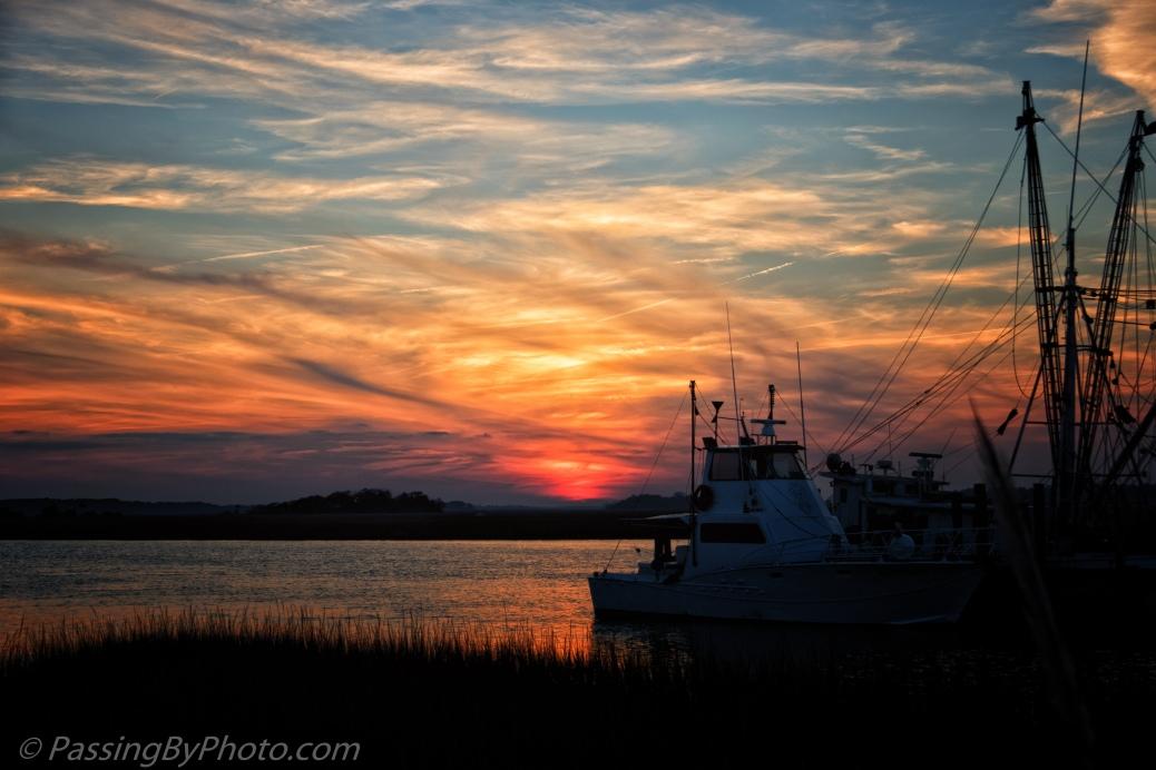 Sunset with Docked Shrimp Boat