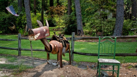 Iron Horse Mail Box, and Chair