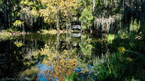 Garden Pond with White Bridge