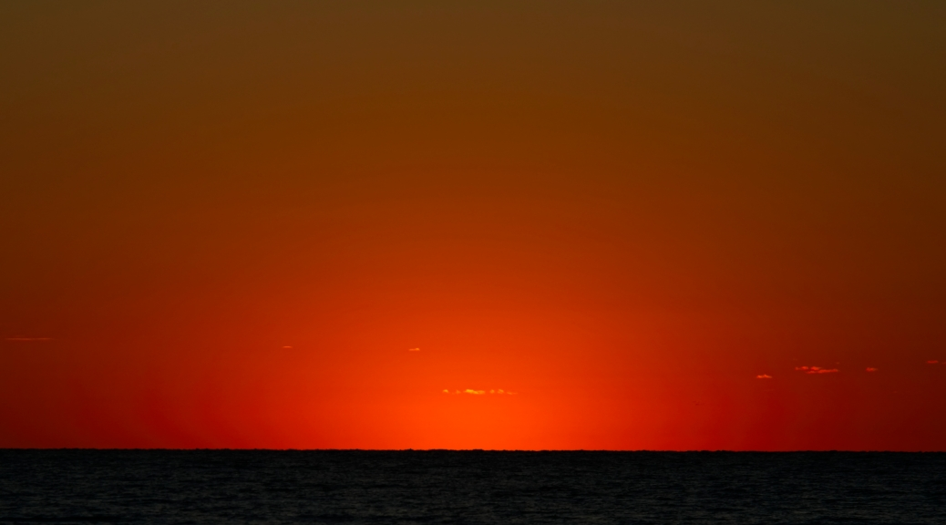 Sundown into Atlantic Ocean